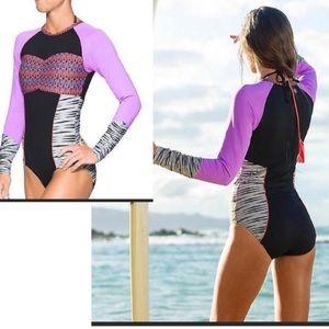 Athleta Ariel S one piece surf swimsuit rash guard